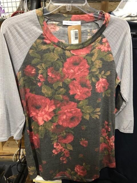 Brushed Flower Print  3/4 Sleeve Top
