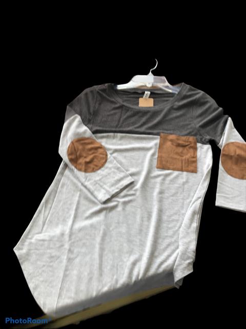 Grey W/Brown Suede Pocket