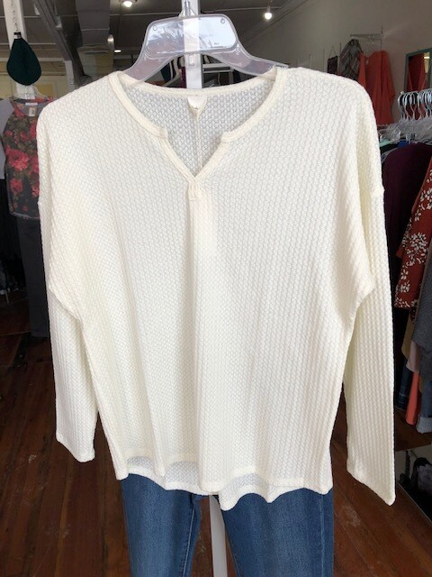 Waffle V-Neck Sweater Pullover