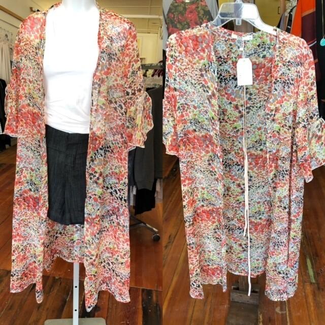 Sheer Floral Long Kimono W/Belt