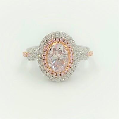 オーヴァルピンクダイアモンドリング