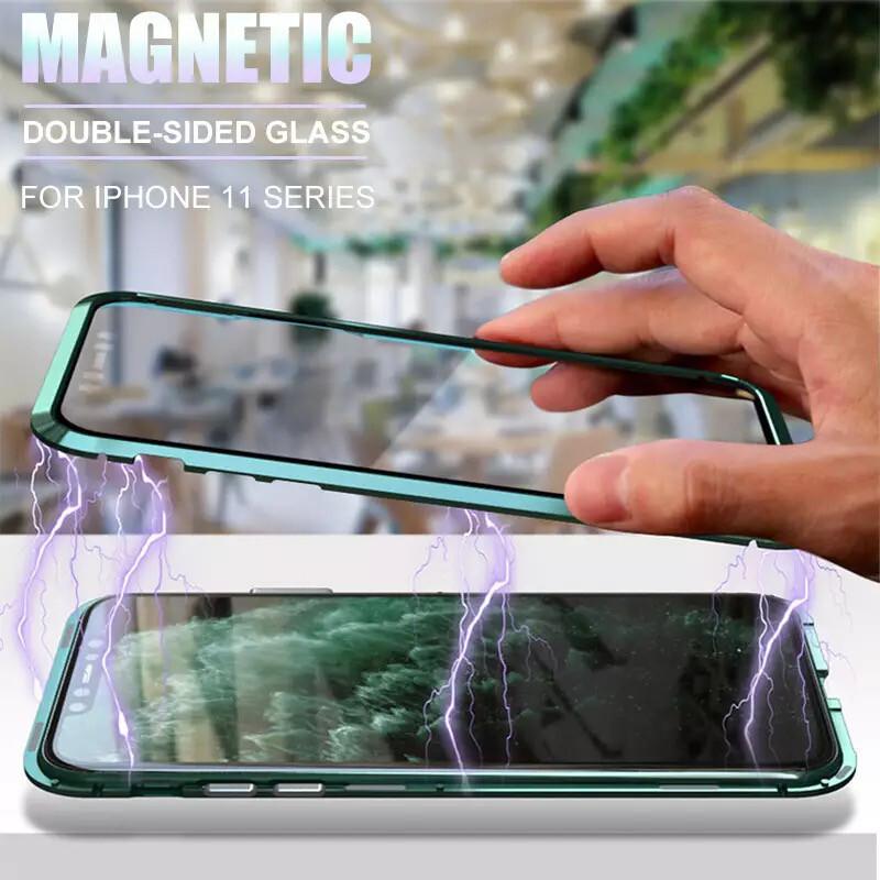 Métal magnétique 360 coque de téléphone pour iphone 11 pro max