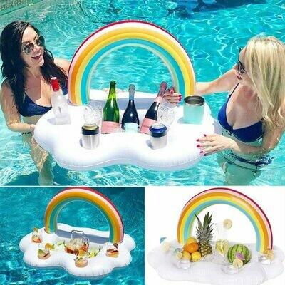 Bar flotante inflable arcoiris para piscina. Precio sin ISV