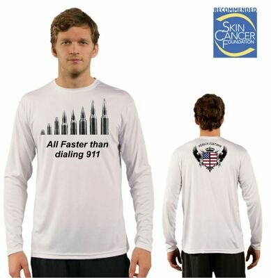 Men's All Faster than Dialing 911 Respect Flag Sublimation Vapor Solar Tee - Long Sleeve