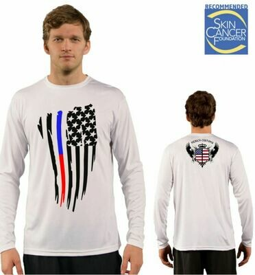 Men's Police and Firefighters Respect Flag Sublimation Vapor Solar Tee - Long Sleeve