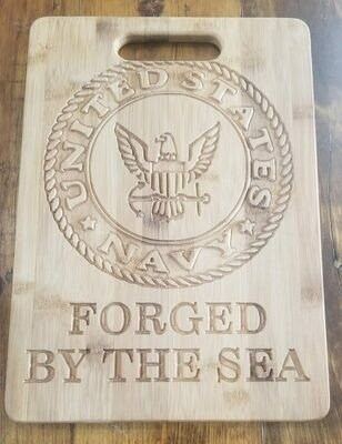 Cutting Board Navy, crest/seal and slogan Cutting Board personalized/Custom Made