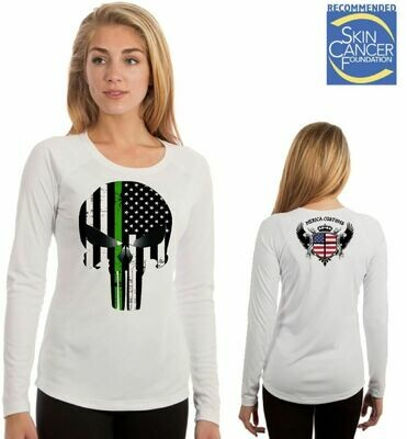 Punisher Military Support Skull  (Ladies Sublimation Vapor Solar Tee - Long Sleeve)