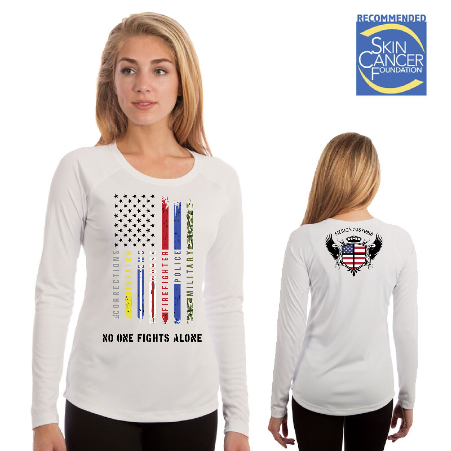 Support All The Thin Lines (Ladies Sublimation Vapor Solar Tee - Long Sleeve)