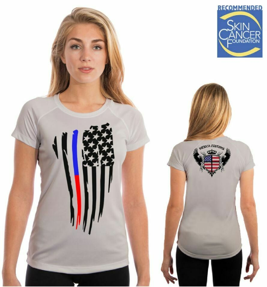 Police And Firefighters Support Flag -(Vapor Ladies Short Sleeve Tee)
