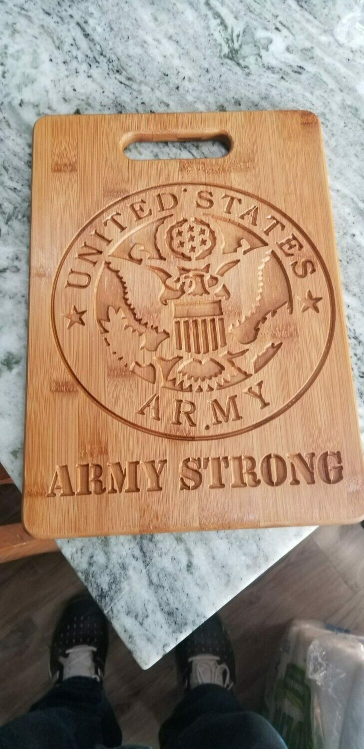 Cutting Board Army seal and slogan Cutting Board personalized/Custom Made