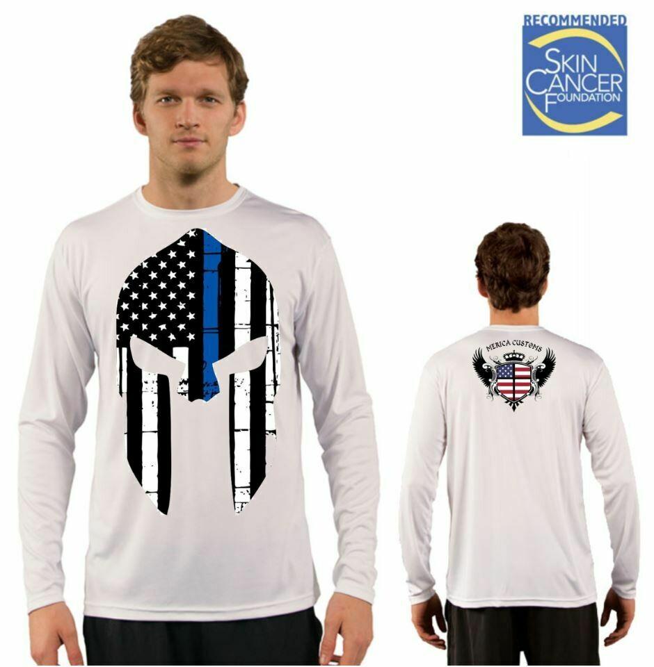 Men's Police Spartan Appreciation Flag Sublimation Vapor Solar Tee - Long Sleeve