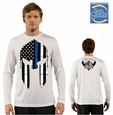 Men's Police Spartan Appreciation Flag Sublimation Vapor Solar Tee - Long Sleeve