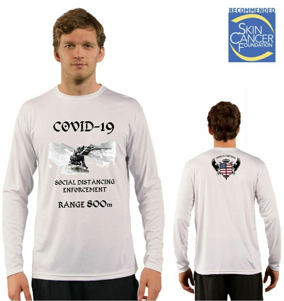 Men's Covid-19 Social Distancing Enforcement Sublimation Vapor Solar Tee - Long Sleeve