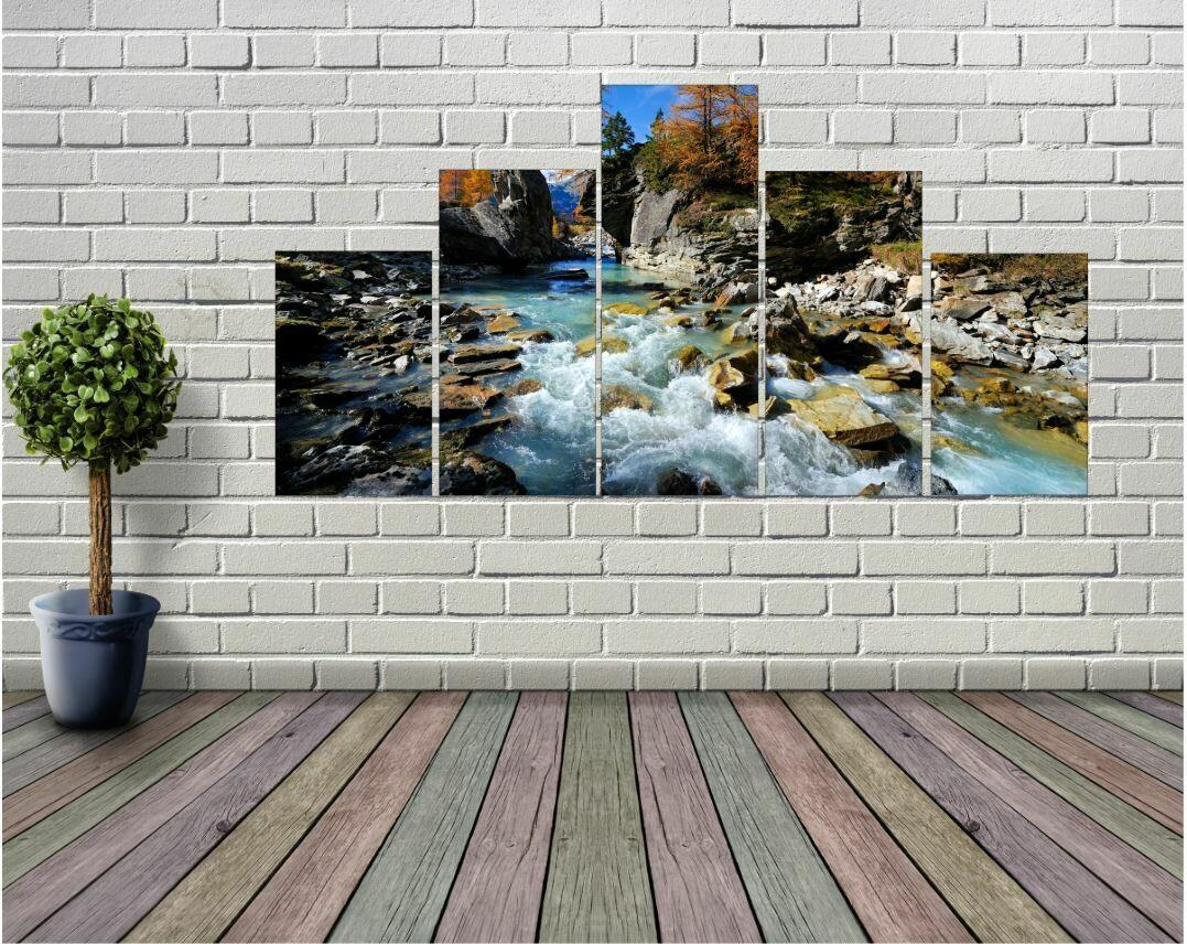 River Stream 5 panel Wall Art