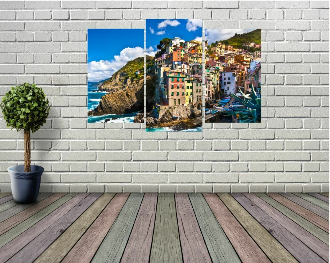 3 Panel Italy Cliffside Wall Art