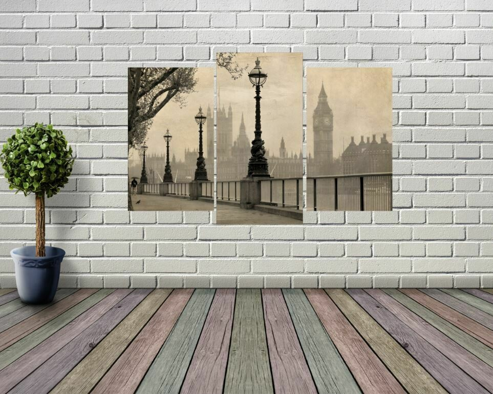 Big Ben Black and White Panel Wall Art
