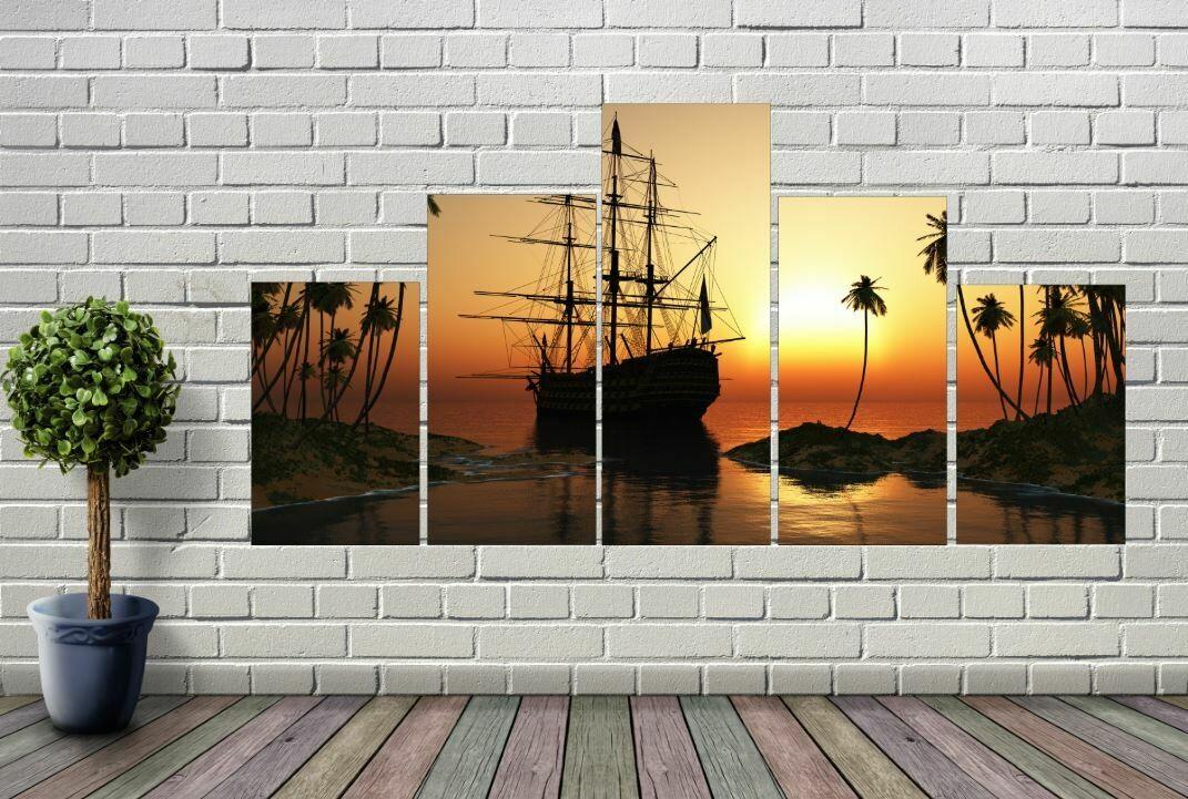 5-Panel Ship At Sunset Wall Art