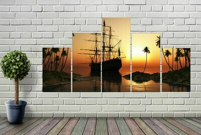 5-Panel Ship At Sunset Wall Art
