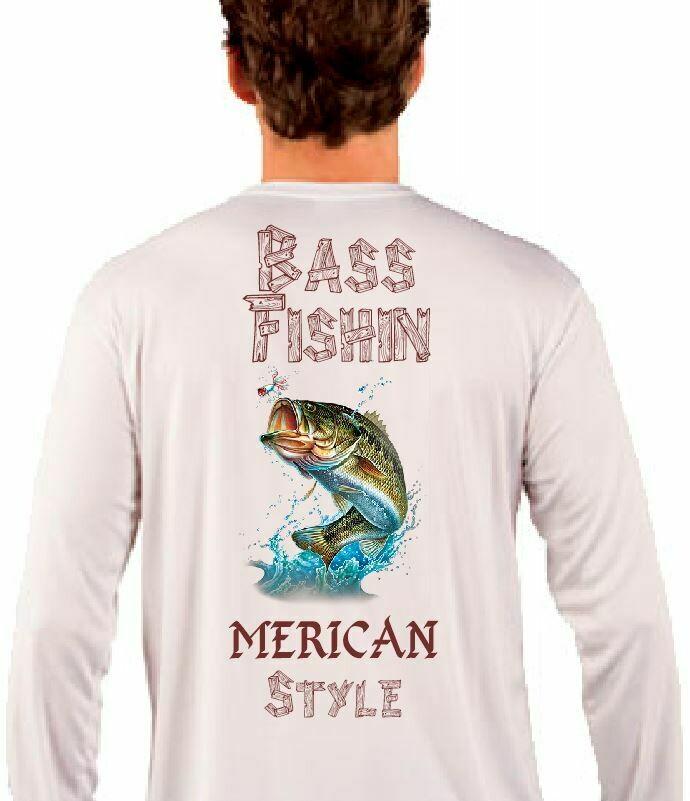Bass Fishin Merica Style Sublimation Vapor Solar Tee - Long Sleeve