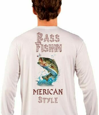 Bass Fishin Merica Style Sublimation Vapor Solar Tee - Long Sleeve