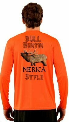 Bull Hunting Merica Style Sublimation Vapor Solar Tee - Long Sleeve