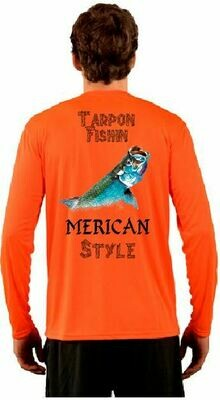 Red Fish Fishin Merica Style Sublimation Vapor Solar Tee - Long Sleeve