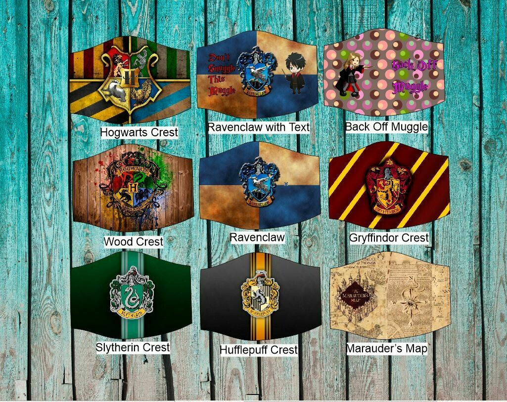 Face Mask Harry Potter Theme, Hogwarts House