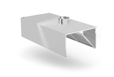 Okap przyścienny skrzyniowy z łapaczami tłuszczów i króćcem wylotowym fi-250, wym. 2400x1000x450 mm