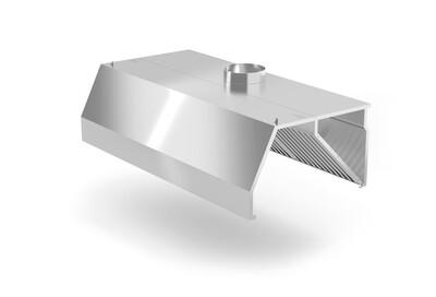 Okap przyścienny trapezowy z łapaczami tłuszczów i króćcem wylotowym fi-250 mm, wym. 2400x1000x450 mm