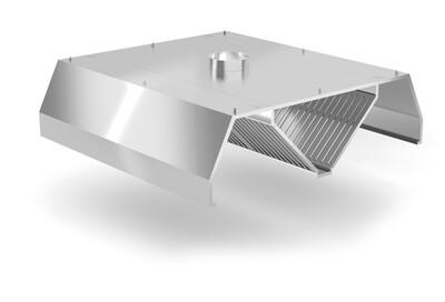Okap centralny trapezowy z łapaczami tłuszczów i króćcem wylotowym fi-250 mm, wym. 3000x2400x450 mm