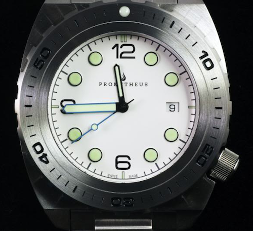 Swiss Made Prometheus Manta Ray Men's Diver Watch White Dial 1O