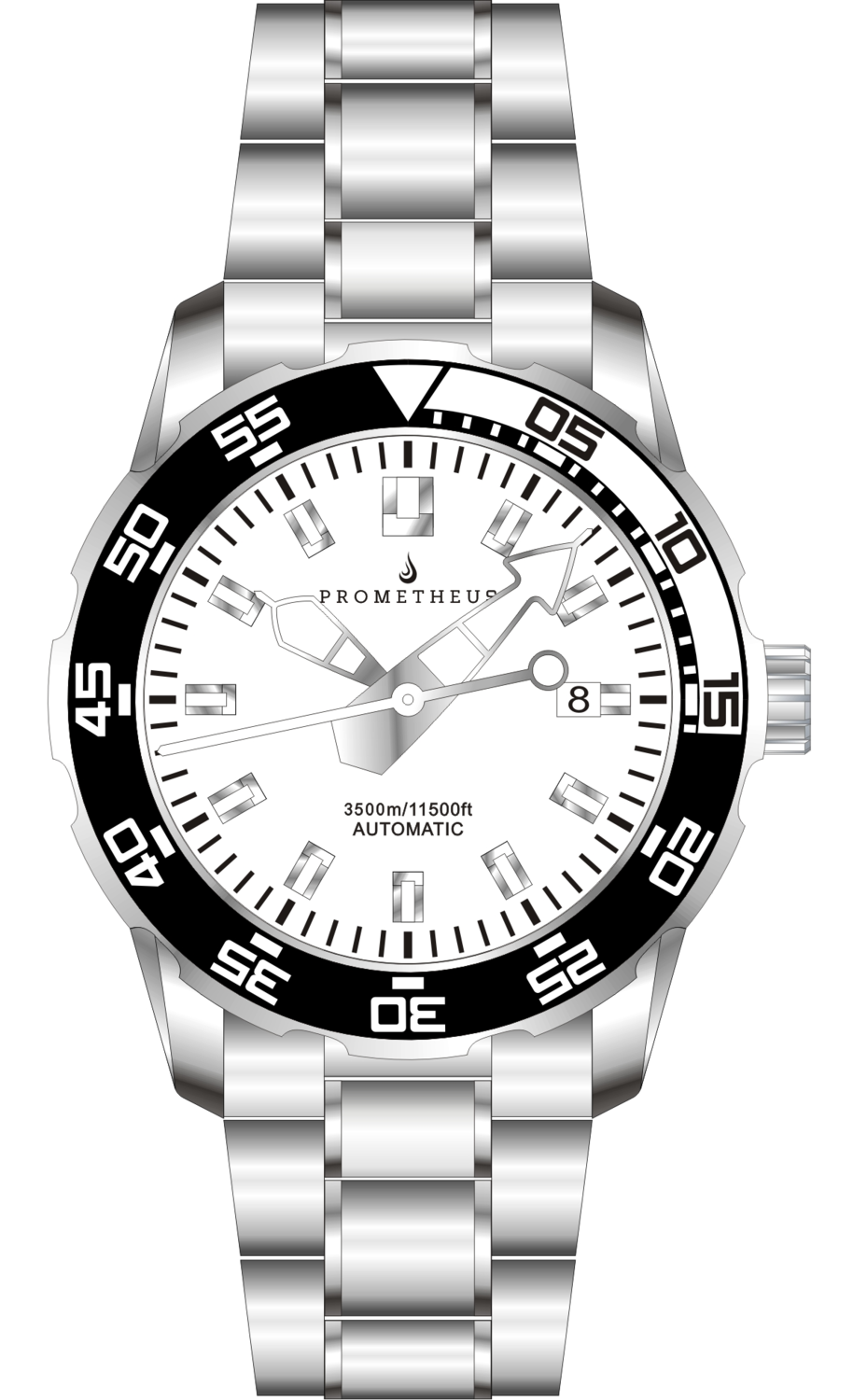 Prometheus Poseidon Stainless Steel White Bezel Lumed White Dial Modern Diver Hands 3500m Miyota 9015 Automatic Diver Watch