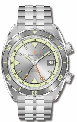 Pre-Order Prometheus Eagle Ray Version 4C ETA 2893-2 GMT Silver Dial Date C3X1 Superluminova