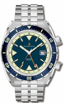 Pre-Order Prometheus Eagle Ray Version 4B ETA 2893-2 GMT Blue Dial Date C3X1 Superluminova