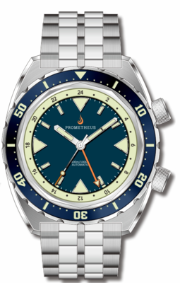Pre-Order Prometheus Eagle Ray Version 4B1 ETA 2893-2 GMT Blue Dial No Date C3X1 Superluminova