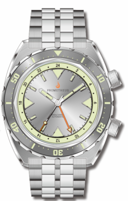 Pre-Order Prometheus Eagle Ray Version 4C1 ETA 2893-2 GMT Silver Dial No Date C3X1 Superluminova