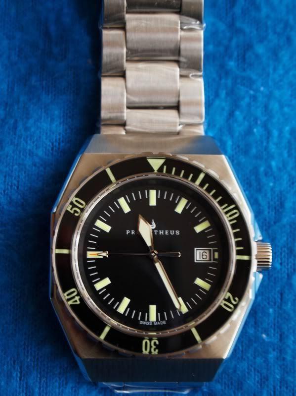 Prometheus Trireme Swiss Made Automatic Diver Watch Sapphire Bezel Black Dial Sword Hands