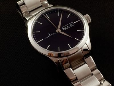 Prometheus Signatura Swiss Made Automatic Watch Enamel Black Dial Day/Date