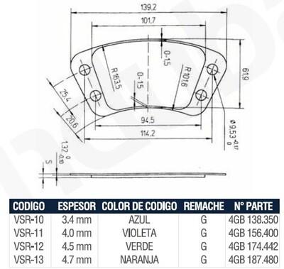 Pastilla Cerámica VSR10