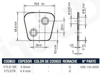 Pastilla Cerámica VTLD7R (Derecha)