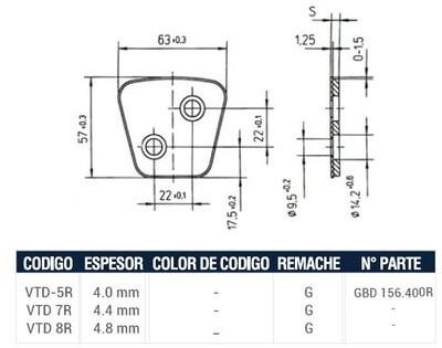 Pastilla Cerámica VTD5R (Derecha)