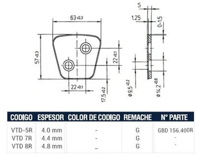 Pastilla Cerámica VTD8R (Derecha)