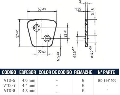Pastilla Cerámica VTD5 (Izquierda)