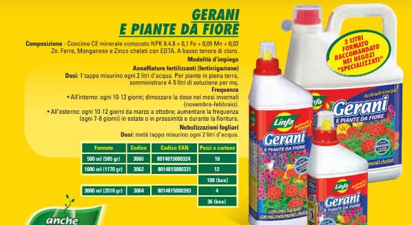 Concime liquido gerani e fiori