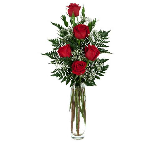 Mazzo ROSE ROSSE - 5 rose confezionate