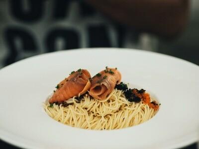 Truffle Salmon Cold Pasta by The Tiramisu Hero