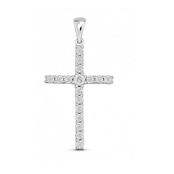 Крест с бриллиантами J01-D-PL-33578