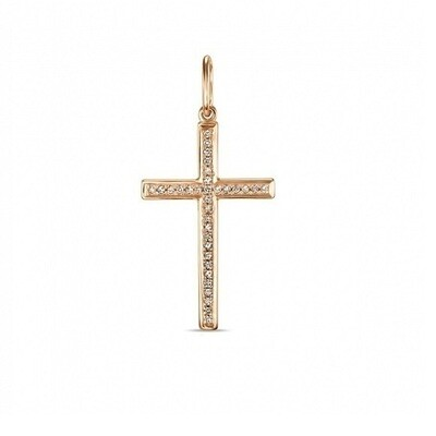 Крест с бриллиантами J01-D-33583-R