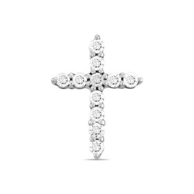 Крест с бриллиантами J01-D-33582-W