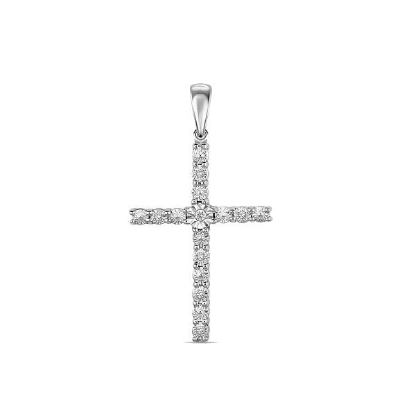 Крест с бриллиантами J01-D-PL-33587-W